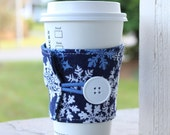 Blue and White Sparkly Snowflake Coffee Cup Cozy - Fabric Coffee Sleeve - Winter Cup Wrap - Teacher or Coworker Christmas Gift - Xmas