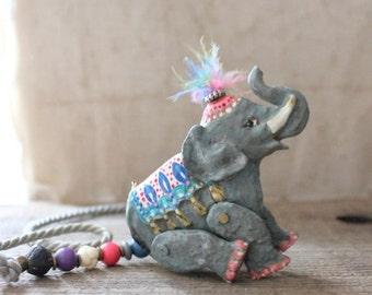 SALE/// Vintage Dorian Circus Elephant Necklace