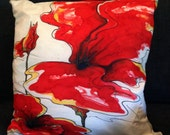"Hand Painted Silk Throw Pillow -  ""Huge Red Blossom"""
