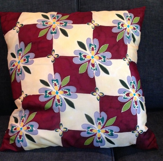 TIME FOR CHECKERS - Hand Painted Decorative Silk Pillow