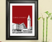 Cornell University Skyline Poster - Ithaca New York Skyline - Art Print - 8 x 10 Choose Your Color