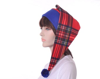 Red Plaid Stocking Cap with Pompom Ball Tartan Elf Hat Long Pointed Stocking Hat Tail Beanie