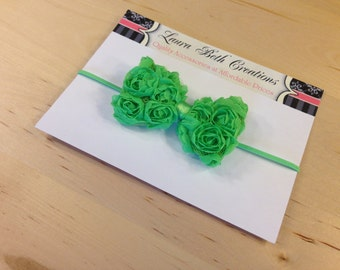 Lime Mini Chiffon Rose Bow Headband - Baby Headband - Toddler Headband - Newborn Headband - Bow Headband