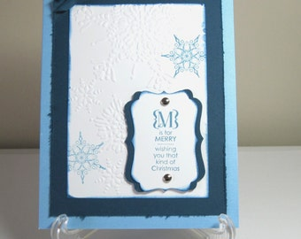 Blue and  White Snowflake Handmade Christmas Cards