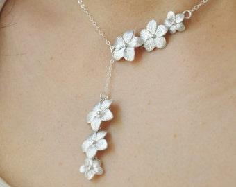 Silver Plumeria Flower Adjustable Lariat Necklace - Plumeria Necklace, Plumeria Lariat, Hawaii Wedding, Bridal Jewelry, Bridesmaids Gift,