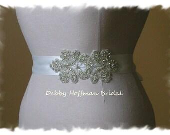 Silver Beaded Bridal Sash, Rhinestone Crystal Wedding Sash, Wedding Dress Belt, Jeweled Wedding Sash, No. 4020S1.5, Wedding Belts and Sashes