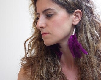 Feather Dangle Earrings, Magenta Feather Cluster, Silver lever Back Hooks