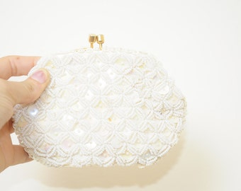 Vintage Beautiful and Awesome White Beads and White Sequin Change Purse Or Wallet With Gold Latch and Silk Lining