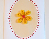 Quilled Yellow Flower Blank Card