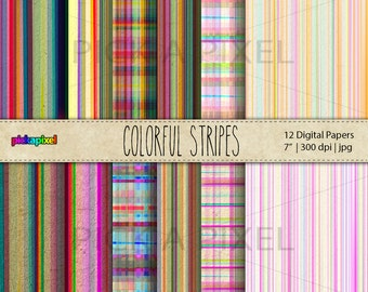 Colorful Stripes Digital Paper Pack - Scrapbook Papers - Personal and Commercial Use - Flowers pattern