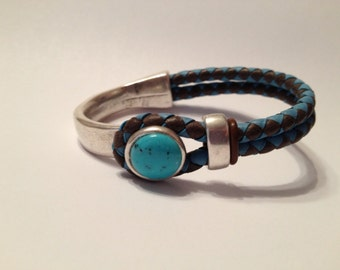 Braided Half Cuff Bracelet- turquoise and brown