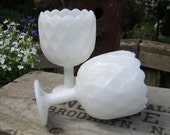 Pair of White Milk Glass Honeycomb Compotes - Wedding Centerpieces - Oak Hill Vintage