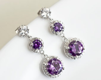 Purple Amethyst Earrings, Cubic Zirconia  Earrings, Bridesmaids Earrings, Purple and White  Round Drop Cubic Zirconia Long Dangle Earrings