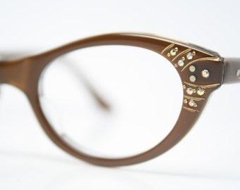 Brown Rhinestone cat eye glasses rhinestone cateye frames