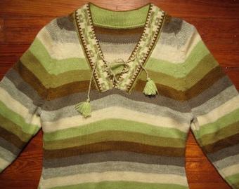 women's vintage striped fringed sweater