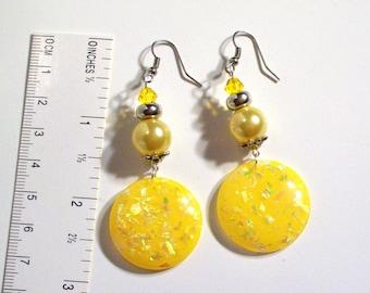 Yellow Dangle Earrings, Select Ear Wire Type