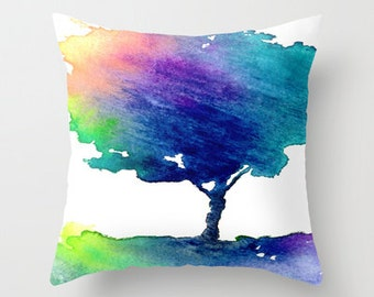 Decorative Pillow Cover - Vibrant Rainbow Tree Painting - Woodland Decor - Throw Pillow Cushion