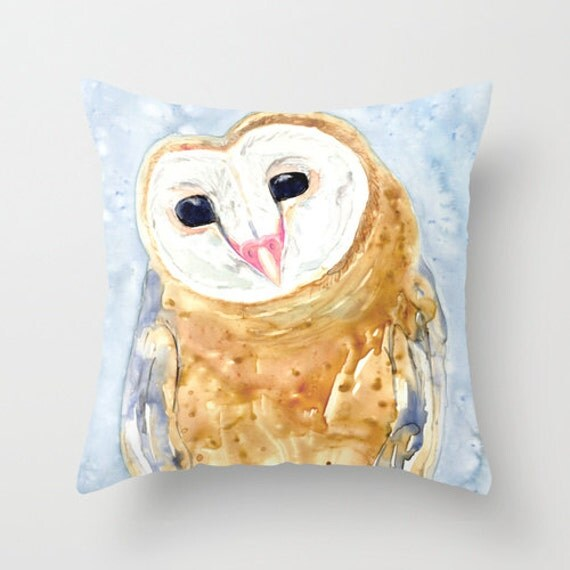 Owl Throw Pillow Covers : Decorative Pillow Cover Barn Owl Throw by BrazenDesignStudio