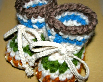 Colorful Crocheted Baby Slipper with Sheepskin Sole