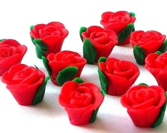 8 red rose polymer clay flower beads, about 15x9mm