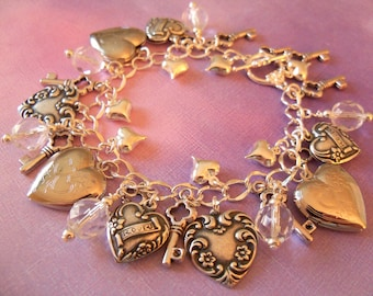Heart Charm Bracelet, Valentine's Day, Hearts, SALE, Key to My Heart, Locket, Keys, I Love You