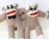 Bride and Groom Sock Monkey - Wedding cake topper,