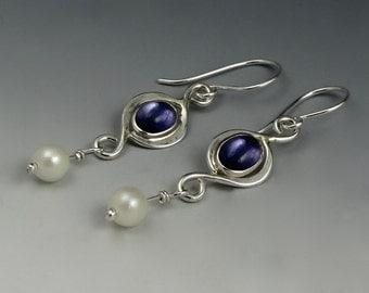 Pearl Earrings, Iolite Cabochons, Sterling