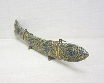 Vintage Carving Set Knife And Fork In Fish Shaped Case