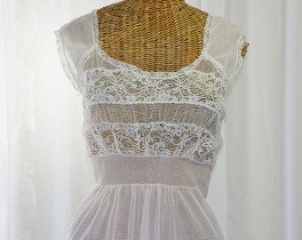 Nightgown Sheer Pink Lace Bodice Long 1950's