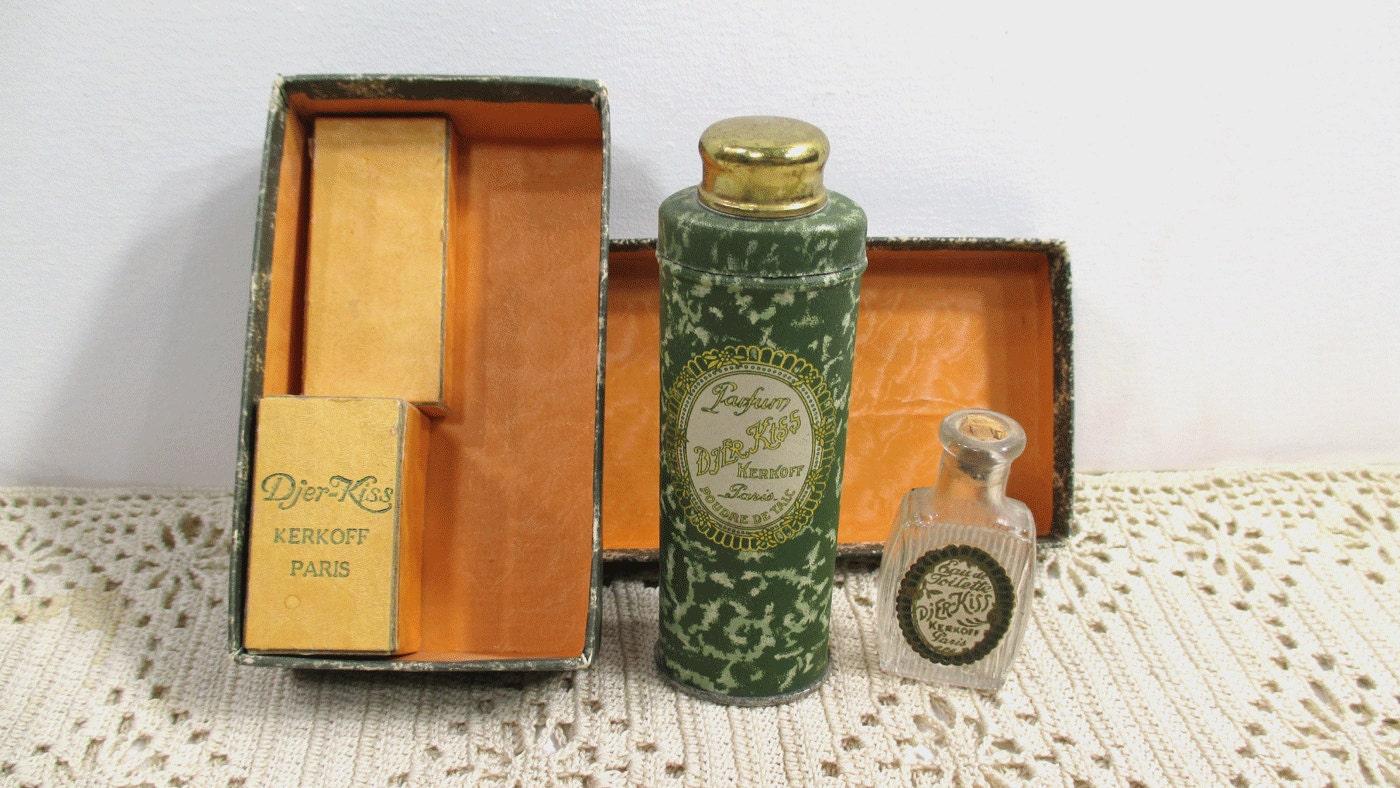 Antique Djer Kiss Perfume Talcum Original Box Set Kirkoff