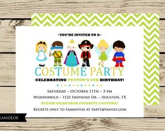 Costume Birthday Party Invitation - Princess, Ninja, Pirate, Fairy, Chevron, Dress Up, Boy, Girl, Printable