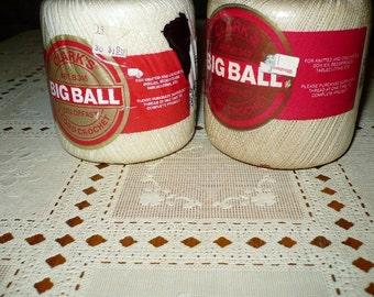 2- Big Ball Crochet Thread Clark's - White and Cream -