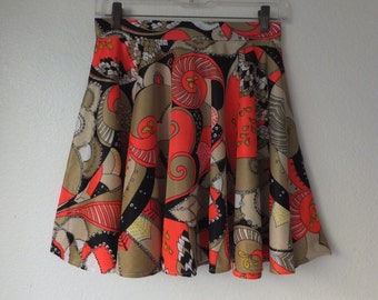 S / Orange Vintage Fabric 60s Circle Skirt