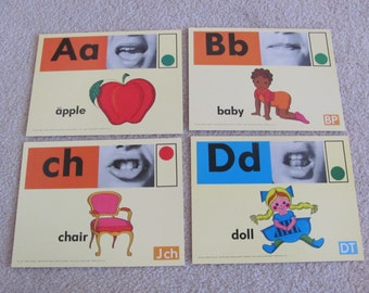 Large Phonics Flash Card Poster - Circa 1972 - Chair Apple Baby Doll