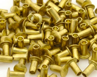 Findings-Hollow Rivet-1/16x1/8 Inch-Brass-Quantity 100