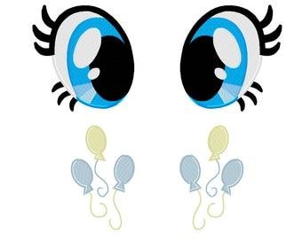 PES FILES: Pinkie Pie Eyes & Cutie Mark Set - Embroidery Machine Design File