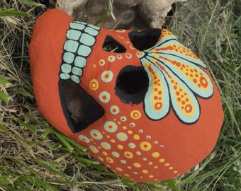30% off Hand-Painted Sugar Skull-- One of a kind Dia de los Muertos (Day of the Dead) paper mache skull