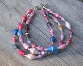 Cotton Candy Colored Recycled Paper Bead Bracelet