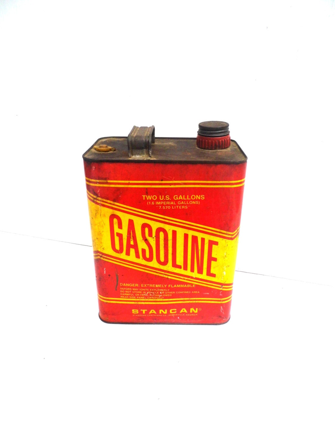 Vintage Galvanized Metal Gas Can Vintage Yellow and Red Gas