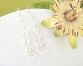 Long earings, beaded chandelier earring, pearl and crystal bridal earings, Swarovski crystal wedding jewlery. NATALIE Crystal
