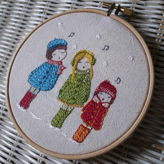carol singers hand embroidery pattern PDF
