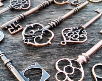Large Skeleton Keys Antiqued Copper 5 Pieces Assorted Steampunk Vintage Styles Mixed Set Wedding Decorations Favors Wholesale Lot