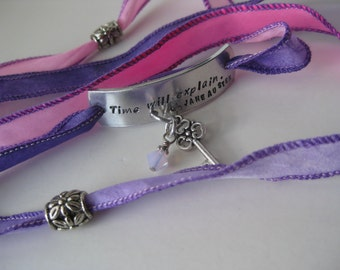Hand Stamped - Hand Dyed Silk Ribbon Bracelet - Time will Explain - Jane Austen