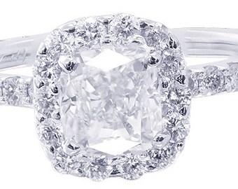 18k white gold cushion cut diamond engagement ring art deco design halo 1.65ctw