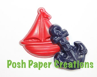 15 sets of 2 sailboat and anchor crayons - in cello bag tied with ribbon - choose your colors