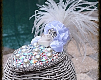Swarovski Crystal Wedding Bridal White Fascinator Hat Headpiece