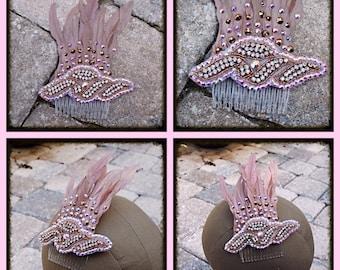 Sale Rose Gold Swarovski Crystal Feather Wedding Bride Dancer Costume Hairpiece Comb