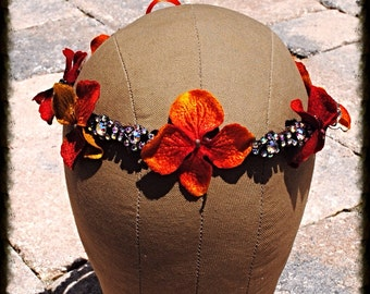 Burnt Orange Floral and Crystal Vine Wedding Bridel Boho Headband