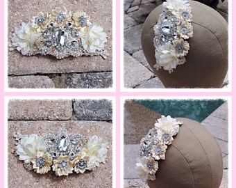 Ivory Cream Crystal Hand Sewn Beaded Floral Wedding Bride Dancer Costume Hairpiece Comb