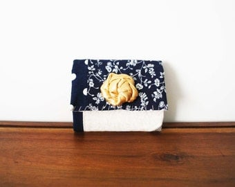 CLEARANCE-- Navy Blue and White Patchwork Business or Credit Card Holder with Champagne Rosette